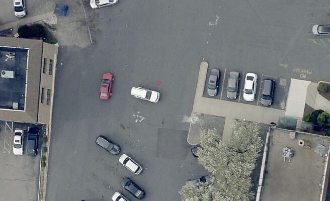 Drone image of the Citizens Bank parking lot with the Green Infrastructure being installed