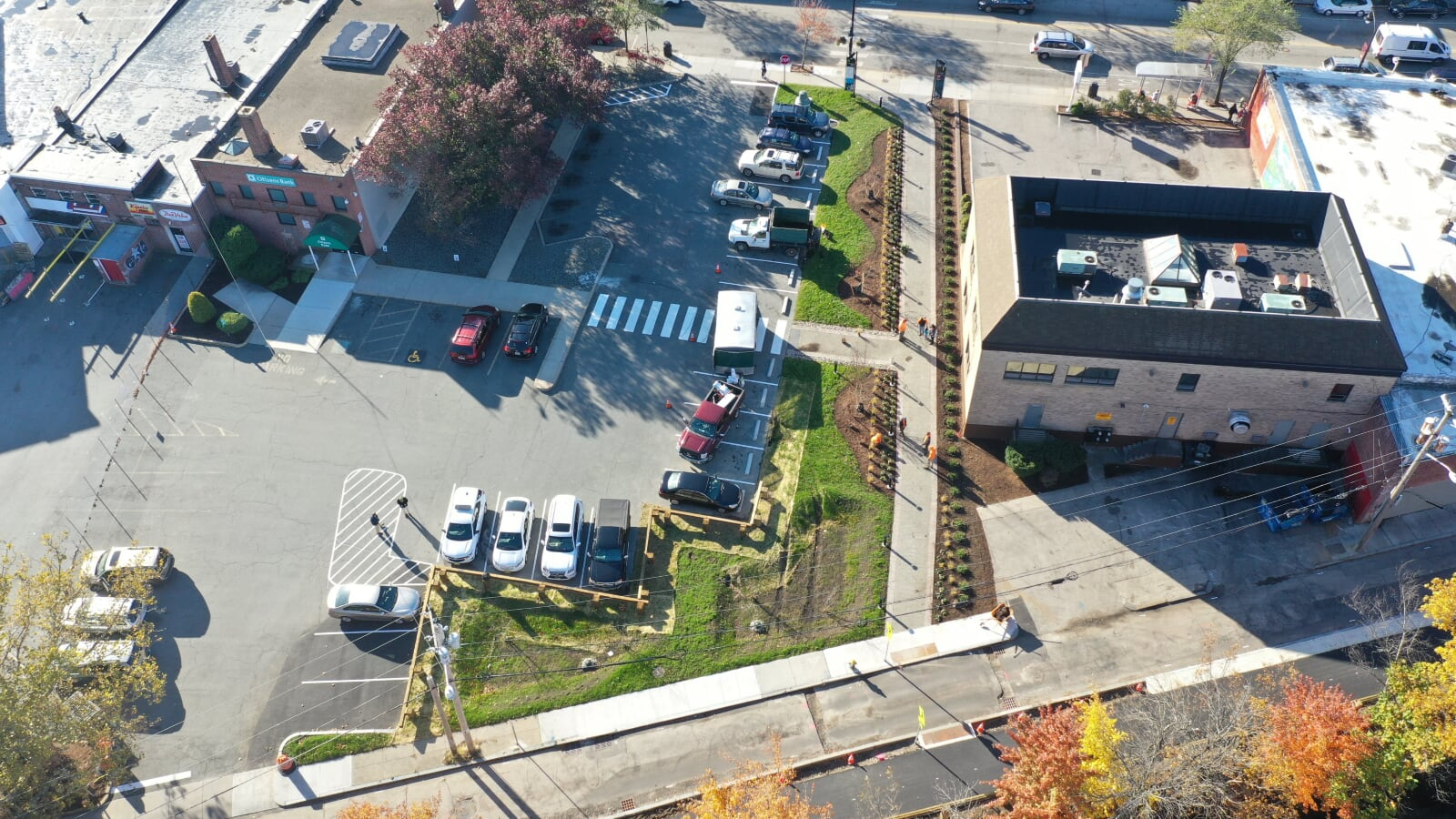 Drone image of the Citizens Bank parking lot with the new Green Infrastructure