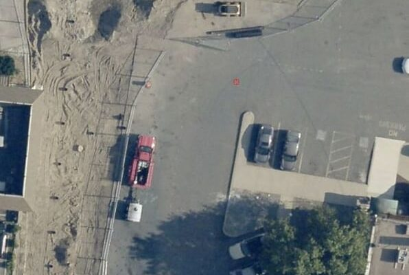Drone image of the Citizens Bank parking lot with the Green Infrastructure work underway